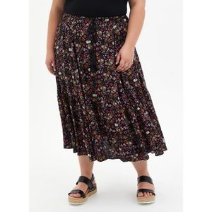 🆕Black Floral Challis Tea Length Skirt L 2X 18 20